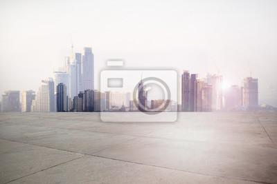 Plakat Urban krajobraz drogowy z tłem miasta
