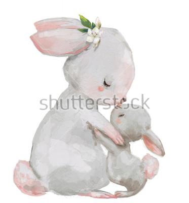 Plakat urocza biała mama z małym zającem