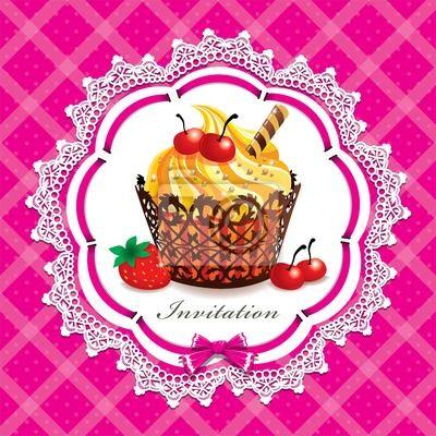 Plakat Uroczy projektowe vitnage Cupcake