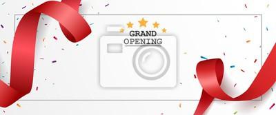 Plakat Uroczyste otwarcie projektu karty z czerwoną wstążką i kolorowe konfetti