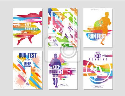 Plakat Uruchomić fest plakaty zestaw, sport i konkurencja koncepcja, bieganie maraton, kolorowy element projektu karty, baner, drukowanie, odznaka wektor Ilustracje