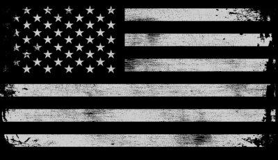 Plakat USA American grunge flag set, white isolated on black background, vector illustration.