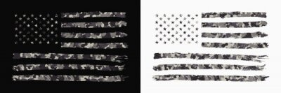 Plakat USA flag with camouflage. Set of camo American flag in military style with grunge. Typography graphics for t-shirt and apparel or banner and poster. Vector illustration.