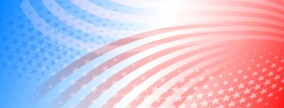 Plakat USA independence day abstract background with elements of american flag in red and blue colors