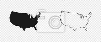 Plakat USA map. American map. United States of America map in flat and lines design