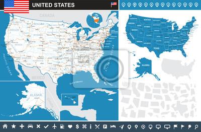 Plakat USA map i flag - bardzo szczegółowe ilustracji wektorowych. Obraz zawiera kontury ziemi, nazwy krajów i gruntów, nazwy miast, obiektów wodnych, flagę, ikony nawigacji, drogi, linie kolejowe.