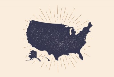 Plakat USA. Poster map of United States of America. Print map of USA for t-shirt, poster. Hand-drawn map in style with linear drawing light rays, sunburst and rays of sun. Vector Illustration