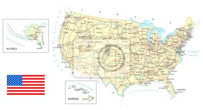 Plakat USA - szczegółowa mapa - illustration.Map zawiera topograficznych kontury, nazwy krajów i państw, miast, obiektów wodnych, dróg, linii kolejowych.