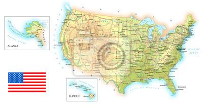 USA szczegółowe mapy topograficznej ilustracji. Mapa zawiera topograficznych kontury, kraju oraz nazwy ziemi, miasta, obiekty wodne, flagę, dróg. - linie kolejowe