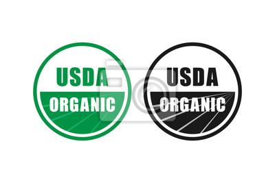 Plakat usda organiczny certyfikat stempel symbol nie gmo wektor ikona