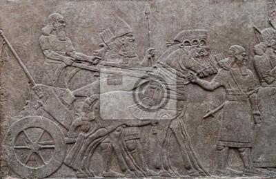 Plakat Ustąpienie starożytnych wojowników asyryjskich w konia wyciągnąć rydwan