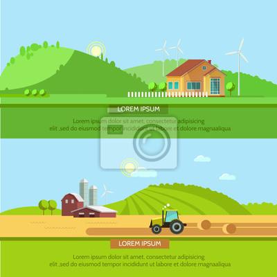 Ustaw ilustracji wektorowych ekoturystyka, styl mieszkania. Wiejskie krajobrazy z pól i wzgórz. Ciągnik w polu zbiorów. Eco koncepcji podróży