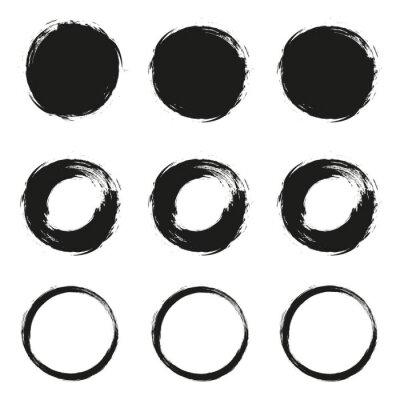 Plakat Ustaw szczotka grunge okrąg na białym tle
