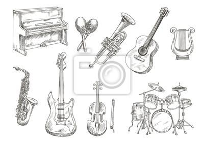 Plakat ustawić Sletched klasyczne instrumenty muzyczne