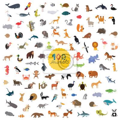 Plakat ustawić sto zwierząt na naszej planecie