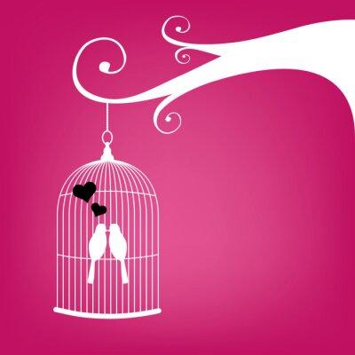 Plakat Valentine's karta z rocznika klatka i kilka ptaków.