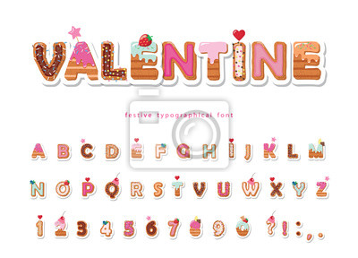 Plakat Valentine sweet font. Cute decorative alphabet. Girly cartoon letter and number stickers. Paper cut out. Vector.