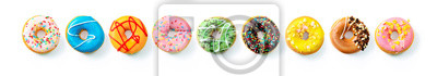 Plakat Various colourful donuts in a row
