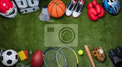 Plakat Various Sport Equipments On Grass