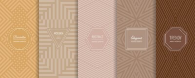Plakat Vector abstract geometric seamless patterns collection. Set of stylish backgrounds with elegant minimal labels. Abstract modern line ornament textures. Trendy pastel color. Design for print, decor