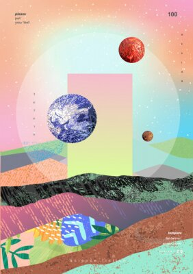 Plakat Vector abstract gradient illustration,  background for the cover of magazines about dreams, future, design and space, fancy, crazy poster