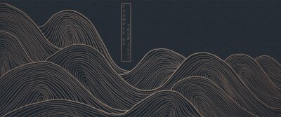 Plakat vector abstract japanese style landscapes lined waves in black and gold colours