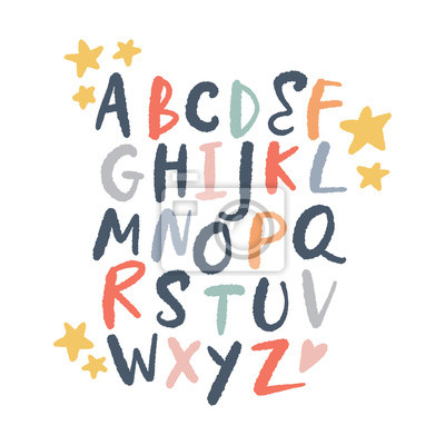 Plakat Vector brush alphabet. Lettering, funny letters, nursery style.