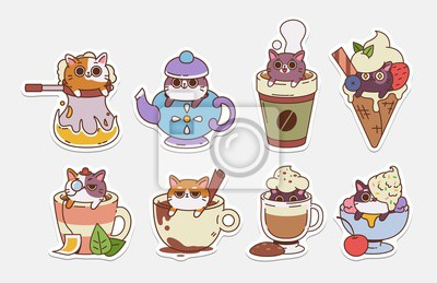 Plakat Vector Cat stickers. Illustrations of drinks With cute cats. Hot Drinks and ice cream