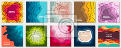Plakat Vector collection of 10 backgrounds with colorful paper cut shapes. 3D abstract paper art style, design layout for business presentations, flyers, posters, prints, decoration, cards, brochure