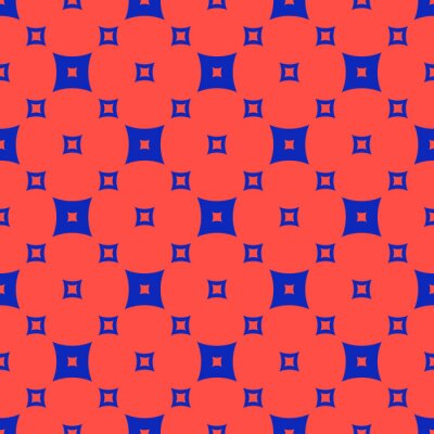 Plakat Vector colorful red and blue geometric seamless pattern with small squares