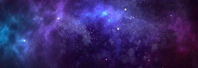 Plakat Vector cosmic watercolor illustration. Colorful space background with stars