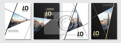 Plakat Vector cover design. Flyer, presentation, brochure layout. Banner, modernist poster design. City blur background.