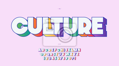 Plakat Vector culture font 3d bold color style trendy typography