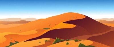 Plakat Vector flat landscape minimalistic illustration of hot desert nature view: sky, dunes, sand, plants. Good for travel banner, card, vacation touristic advertising, brochure, flayer etc.
