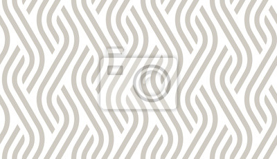 Plakat Vector geometric diagonal fabric waves seamless texture. Cream colour background.