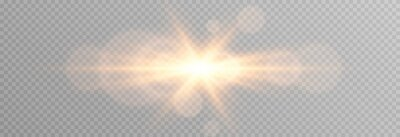 Plakat Vector golden light with glare. Sun, sun rays, dawn, glare from the sun png. Gold flare png, glare from flare png.
