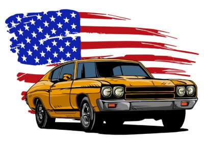 Plakat vector graphic design illustration of an American muscle car