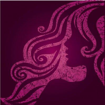 Plakat Vector grunge różowy ilustracja dziewczyny z pięknymi włosami