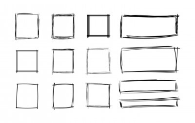 Plakat Vector Hand Drawn Squares Set, Blank Frames Set, Black Scribble Geometric Shapes Isolated on White Background.