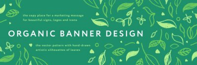 Plakat Vector herbal banner with drawings of herbs. Natural cosmetic label. Leaf silhouette for eco store, healthy food. Botanical background for bio pattern, herbal medicine with organic illustrations.