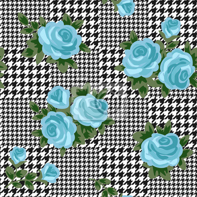 Plakat vector houndstooth seamless black and white pattern with blue retro roses