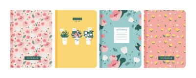 Plakat Vector illustartion templates cover pages for notebooks, planners, brochures, books, catalogs. Flowers wallpapers.
