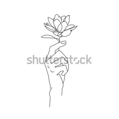 Plakat Vector illustration. A delicate line drawing. Flower in hand
