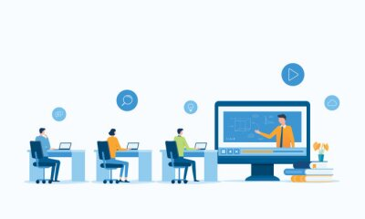 Plakat vector illustration design online education and E-learning at home by webinar training and design for Webinar, online video training, tutorial podcast and business coaching concept.