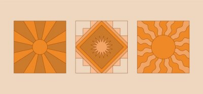 Plakat Vector illustration in simple linear style - design templates - hippie style