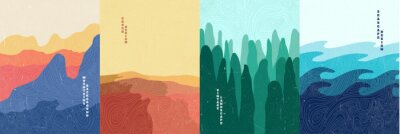 Plakat Vector illustration landscape. Wood surface texture. Mountains, desert, forest, sea. Japanese wave pattern. Mountain background. Asian style. Design for poster, book cover, web template, brochure.