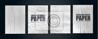 Plakat vector illustration object. badly glued white paper. crumpled poster