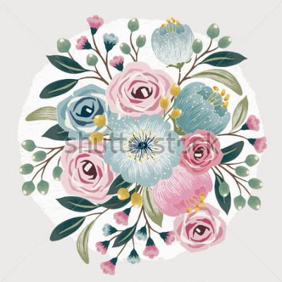 Plakat Vector illustration of a beautiful floral bouquet with spring flowers for invitations and birthday cards