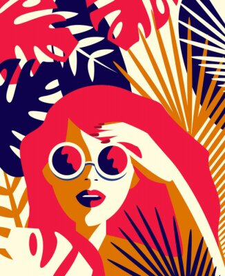 Plakat Vector illustration of a girl in sunglasses among tropical plants. Summer concept in vintage style