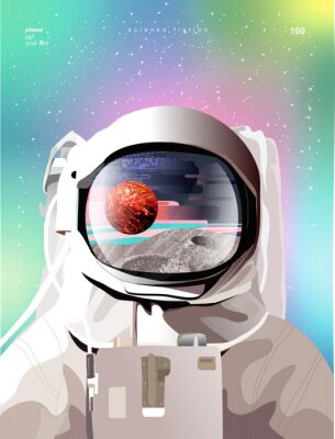 Plakat Vector illustration of a portrait of an astronaut in a spacesuit in space with planets, gradient abstract background for a poster, banner or cover